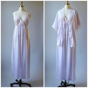 Vtg 70s Lavender Peignoir Nightgown Set